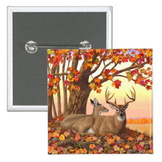 Whitetail Deer Autumn Maple Tree Button