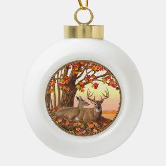 Whitetail Deer Autumn Maple Tree Ceramic Ball Christmas Ornament