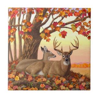 Whitetail Deer Autumn Maple Tree Ceramic Tile