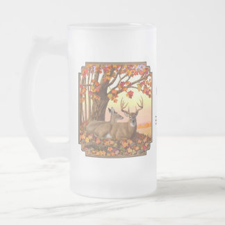 Whitetail Deer Autumn Maple Tree Frosted Glass Beer Mug