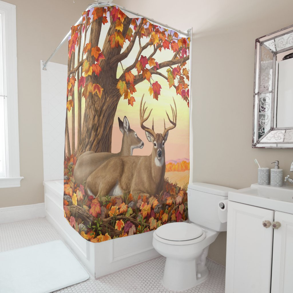 Whitetail Deer Autumn Maple Tree Shower Curtain