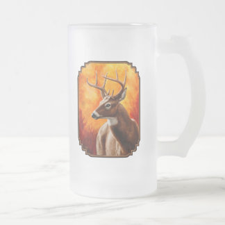 Whitetail Deer Buck Hunting Frosted Glass Beer Mug