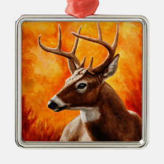 Whitetail Deer Buck Hunting Metal Ornament