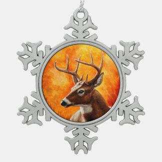 Whitetail Deer Buck Hunting Snowflake Pewter Christmas Ornament