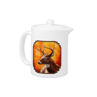 Whitetail Deer Buck Hunting Teapot