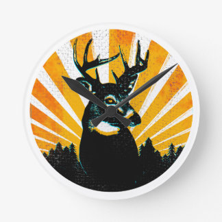 Whitetail Deer Buck Hunting Wall Clock