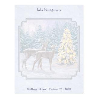 Whitetail Deer & Christmas Tree Letterhead