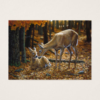 Whitetail Deer Doe and Fawn Autumn Business Card