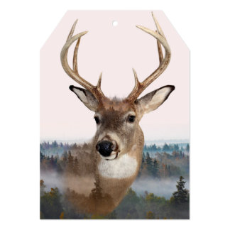 Whitetail Deer Double Exposure 5x7 Tag Invitation