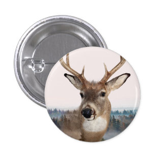 Whitetail Deer Double Exposure Button