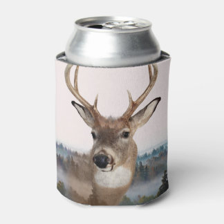 Whitetail Deer Double Exposure Can Cooler