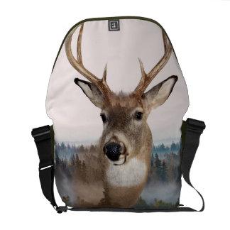 Whitetail Deer Double Exposure Messenger Bag