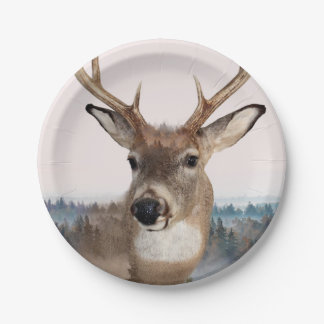 Whitetail Deer Double Exposure Paper Plates