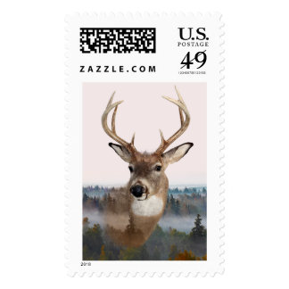Whitetail Deer Double Exposure Postage Stamp