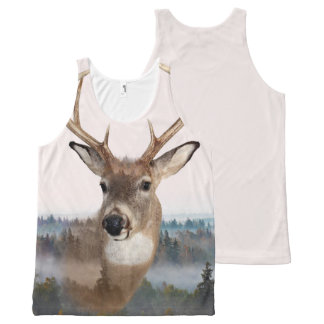 Whitetail Deer Double Exposure Tank Top All-Over Print Tank Top