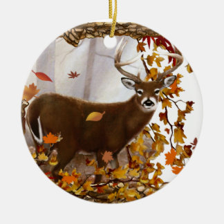 Whitetail Deer Double-Sided Ceramic Round Christmas Ornament