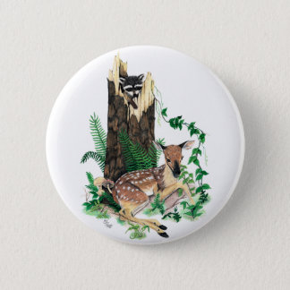 Whitetail Deer Fawn and Raccoon Button