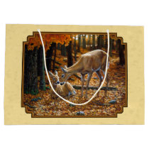 Whitetail Deer Fawn & Doe Yellow Large Gift Bag
