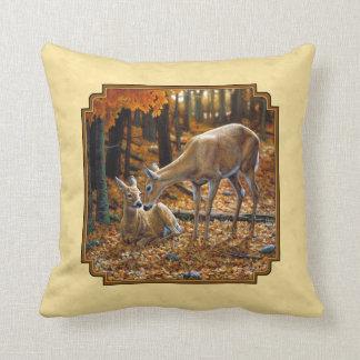Whitetail Deer Fawn & Doe Yellow Pillows