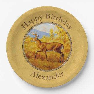 Whitetail Deer Golden Aspen Woods Paper Plate