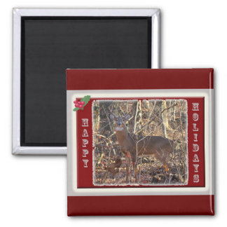 Whitetail Deer Happy Holidays Items 2 Inch Square Magnet