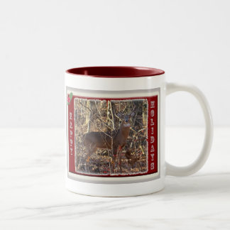 Whitetail Deer Happy Holidays Items Two-Tone Coffee Mug