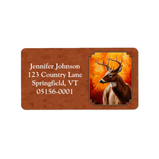 Whitetail Deer in Autumn Reddish Brown Label