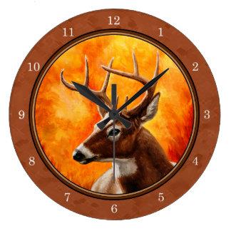Whitetail Deer in Autumn Reddish Brown Large Clock
