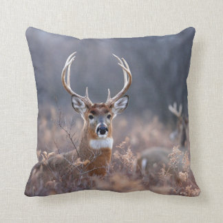 Whitetail Deer In Autumn Season Field Throw Pillow