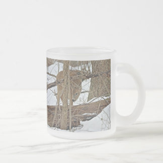 Whitetail Deer In Snow Frosted Glass Coffee Mug