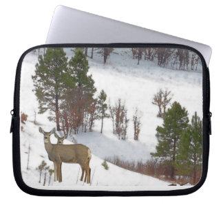 Whitetail Deer in Snow Laptop Sleeve