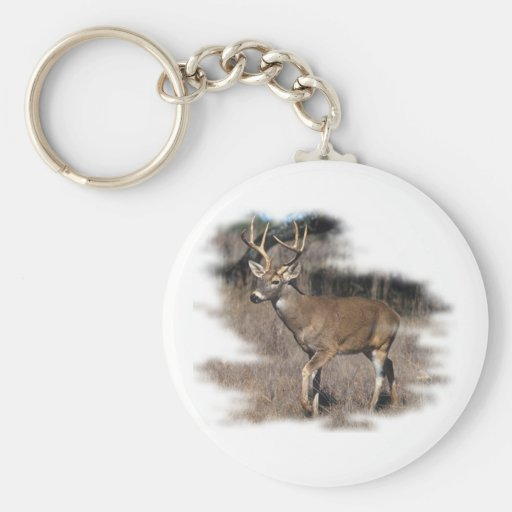 Whitetail deer in the field keychains