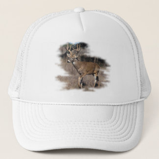 Whitetail deer in the field trucker hat