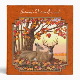 Whitetail Deer Maple Tree Autumn Orange Binder
