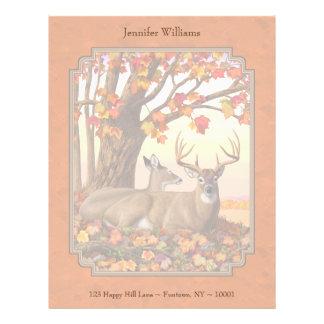 Whitetail Deer Maple Tree Autumn Orange Letterhead
