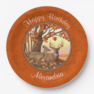 Whitetail Deer Maple Tree Autumn Orange Paper Plate