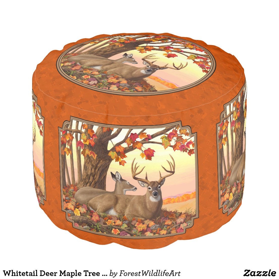 Whitetail Deer Maple Tree Autumn Orange Pouf