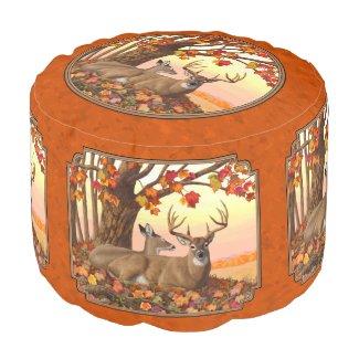 Whitetail Deer Maple Tree Autumn Orange Pouf