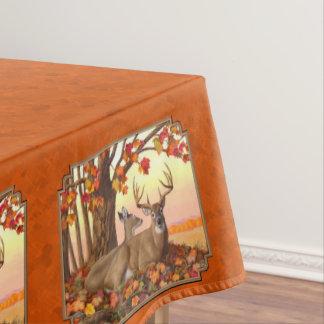 Whitetail Deer Maple Tree Autumn Orange Tablecloth