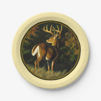 Whitetail Deer Monster Buck Yellow Paper Plate