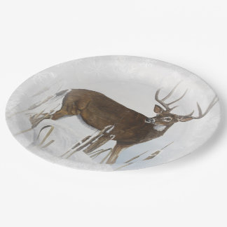Whitetail deer paper plate