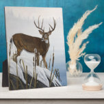 """Whitetail deer plaque<br><div class=""""desc"""">A whitetail buck stops at the waters edge as the misty fog rises. &quot;Buck At Waters Edge&quot; an original oil painting by Wildlife/Nature Artist - Johanna Lerwick.</div>"""