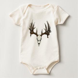Whitetail deer skull 1 baby bodysuit