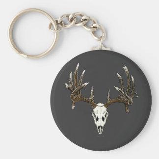 Whitetail deer skull 1 basic round button keychain