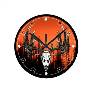Whitetail deer skull 6 round clock