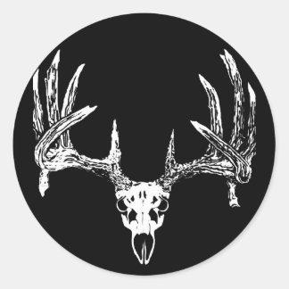 Whitetail deer skull w classic round sticker