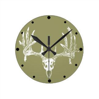 Whitetail deer skull w round clock