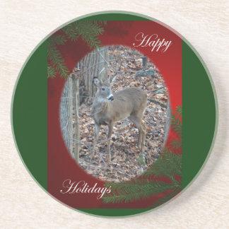 Whitetail Deer Spike Buck Happy Holidays Sandstone Coaster