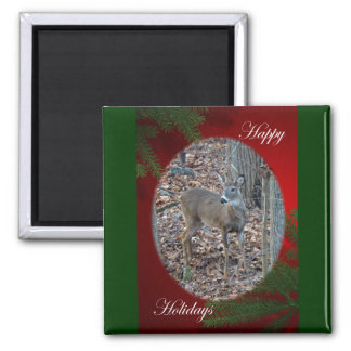 Whitetail Deer Spike Buck Happy Holidays Series 2 Inch Square Magnet