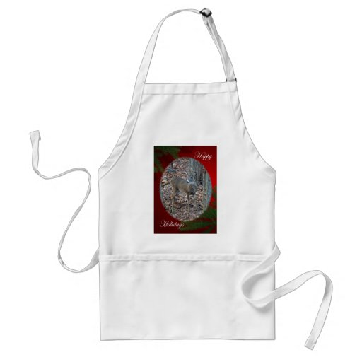 Whitetail Deer Spike Buck Happy Holidays Series Apron